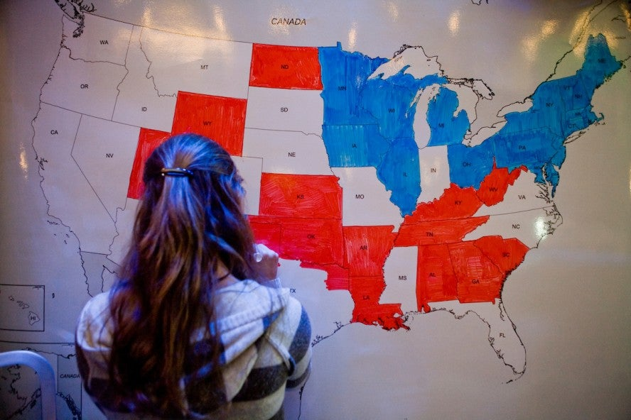 Electoral map red and blue